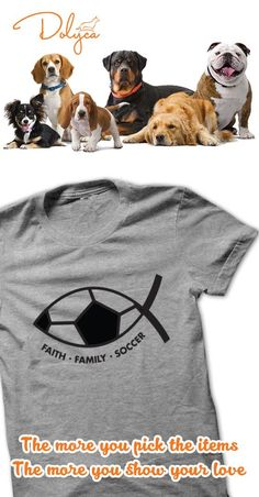 Faith.Family.Soccer by Play4Jesus. Show the world who you pass, shoot, save and score for!!! Variety of colors in men, ladies and hoodies!!! Like us on Facebook at Play4Jesus