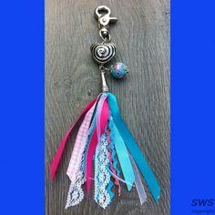 Sieraden, SM001 roze aqua sleutelhanger hart