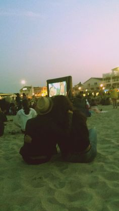 beach movie night. friends.