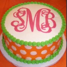I totally am going to have to get megan to make me a monogram cake for my next birthday :)