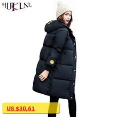 HIJKLNL winterjassen dames Women Winter Coat and Jackets 2017 Long Thick Warm Smile Face Printed Jacket Cotton Parka Mujer NA394