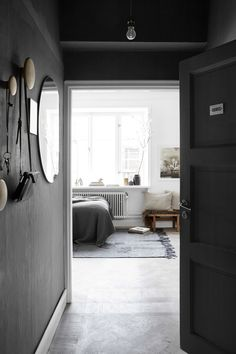 Dark grey entryway in Josefin Haag's apartment