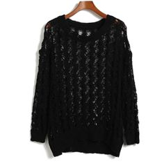 Black Hollow Pattern Loose Knited Sweater