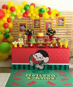 No automatic alt text available. Watermelon Birthday Parties, Carnival Birthday Parties, Birthday Party Themes, Water Party, Fiesta Party, Baby Party, Childrens Party, First Birthdays, Party Supplies