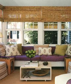shades, purple, sunrooms, sun porches, color, decorating ideas, window treatments, couches, sun room
