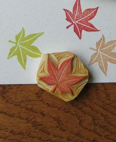Tiny Maple Leaf Rubber Stamp Hand Carved by EnchantingStamps, $8.00