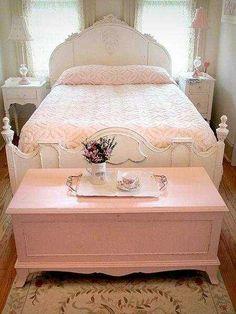 Sweet Pink + White Shabby Chic Bedroom Makeover