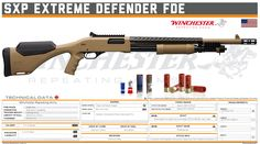 Winchester Repeating Arms - SXP Extreme Defender FDE Military Weapons, Weapons Guns, Firearms, Shotguns, Tactical Shotgun, Custom Guns, Army Vehicles, Shooting Range, Drawing Techniques