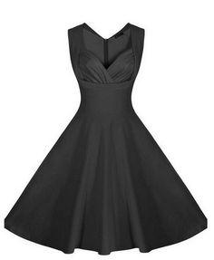 Black Plain Pleated Sleeveless V-neck Fashion Midi Dress... I honestly gasped when I saw this!!
