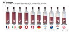 Luis Fernando Heras Portillo también presenta una infografía de países productores y consumidores de vino para futuras referencias en viajes.