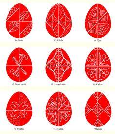 Egg patterns from Gyimes - Hungarian folk art motifs