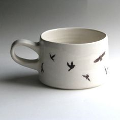 handmade and hand painted bird mug by gemmafarrellceramics on Etsy