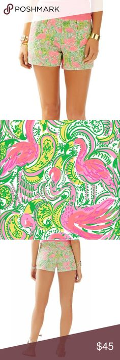 """🌴BNWT Lilly Pulitzer Hot Wings Callahan Shorts Brand New with Tag Lilly Pulitzer 3"""" Walsh Short Color: Hot Wings (Resort White, Pink and Green) Flamingo Print Size: 000, XXS, 24 Style: Walsh Short. Some things in life are better shorter: acceptance speeches, lines at Starbucks, red lights...and printed shorts! With a 3"""" inseam, this shortie-short will make those legs look like they go on for DAYS. Add a pop of print to these spring shorts and you're out the door. 3"""" Inseam, Zip Fly Short…"""