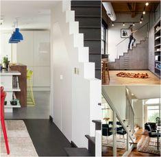 meubles sous escalier integrés en styles variés- placard moderne, industriel ou classique
