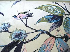 "Mid Century Fabric - T'ung Shan Hand Print - Birds - Pastel Linen Silk Bark Cloth - 36"" x 48""W - 1950's - Retro Sewing Material"