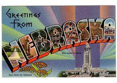 Vintage 1940s Greetings from Nebraska Large Letter Linen Postcard Unused Travel Souvenir Goldenrod State Flower