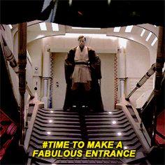 Obi Wan and his dramatic entrances.