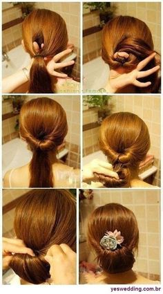 Topsy tail type bun. Found this one courtesy of Monica and have used it several times since then. Looks cute & is very easy!