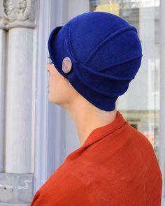 Mary Lou Blue royal blue felt cloche von behidadolicmillinery