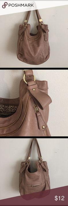 Taupe purse with brass hardware Taupe, cheetah print lining, brass and zipper hardware, zipper close, zip pocket on inside Bags Shoulder Bags