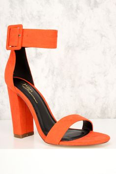 afbbc25de41 Orange Wide Ankle Strap Open Toe Single Sole Chunky High Heels Faux Suede