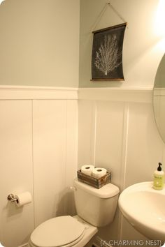 """Love the wainscot idea...just top molding and furring strips to give the illusion of """"bead board."""" Cheap, easy and effective!"""