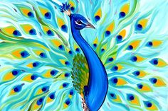 paintings of peacocks peacock painting from australia BY RomancingHer.etsy.com
