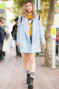Tokyo// Style Arena: baby blue double-breasted pea coat + charlie brown sweater + striped socks + heeled booties