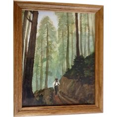 B Lewis, Figural Hiking on Forested Trail, Naive Watercolor Painting Signed by Artist