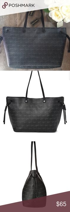 "Foley and Corinna Black Tote Signature Print NWT Foley and Corinna Tote  Signature print  Liberated leather  Dimensions: 19""W x 11""H x 7""D approximately  New with tags  MSRP: $128.00  *Liberated leather is cruelty free containing no animal products Foley + Corinna Bags Totes"