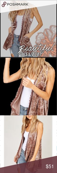 Coming Soon- Lace-Trimmed Velvet Vest Lace-Trimmed Velvet Vest Boutique Jackets & Coats Vests