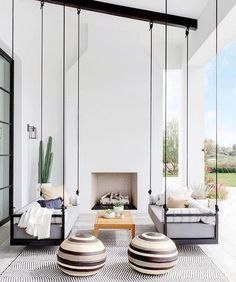 Outdoor patio loggia black and white with swing beds