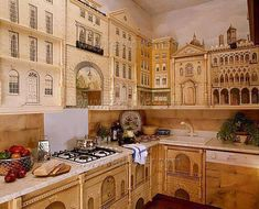 Fantasy kitchen, too cute to cook in Trompe L'oeil Kitchen Cabinets - whimsical BOISERIE & Co.: