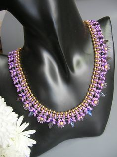 Lavender Fields  Superduo Necklace by zviagil on Etsy, $8.00