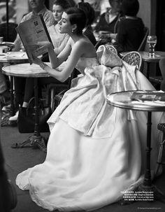 """Athena Wilson Takes the Plunge in """"I Do!"""" for Harper's BAZAAR by Benjamin Kanarek - Carolina Herrera"""