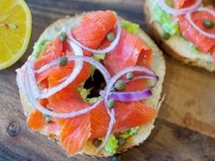 Lox and cream cheese on a sesame bagel is my favorite thing! Must also have red onion and capers.