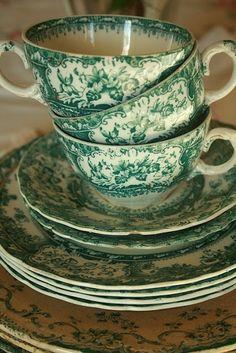 Green & White Vintage Tea Set ....