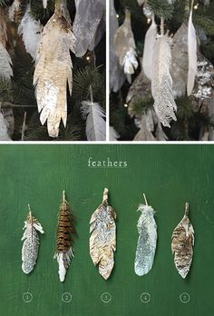 Hanging Feather Ornaments... using rock salt instead of glitter makes the feathers appear to be covering in ice crystals!