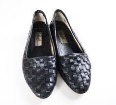 90 ' s Vintage noir italien Amalfi cuir tressé par ThreadedVibes