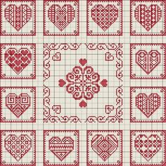 De Borduurvrouw: Borduurpatronen Harten en Valentijnsdag click image to open, click image again and finally click the title and a large chart will open Embroidery Hearts, Cross Stitch Embroidery, Embroidery Patterns, Crochet Patterns, Crochet Stitches, Cross Stitch Heart, Cross Stitch Samplers, Cross Stitching, Cross Stitch Designs
