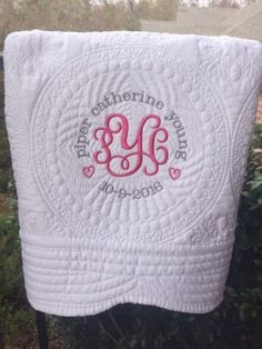 Baby Girl Embroidery Ideas, Baby Embroidery, Embroidery Monogram, Machine Embroidery, Embroidery Blanks, Personalized Gifts For Kids, Personalized Baby Blankets, Baby Girl Quilts, Baby Girl Blankets