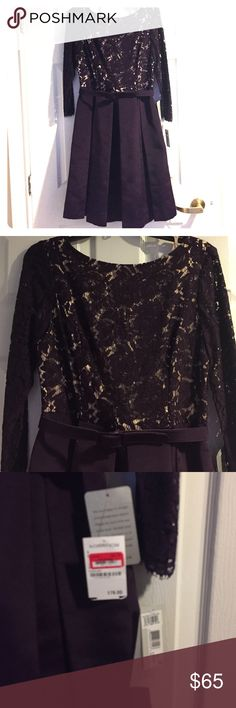 "Eliza J purple lace dress, size 6 Never worn, tags still on, purple dress with nude less lining, a line pencil with pleats, matching belt, v neck in the back, shoulder to bottom hem 38"", purchased at Nordstrom Eliza J Dresses Midi"
