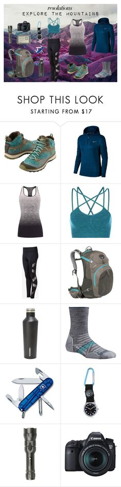 """""""#PolyPresents: New Year's Resolutions Expore the Mountains"""" by nicole022487 ❤ liked on Polyvore featuring Keen Footwear, NIKE, Pepper & Mayne, Sweaty Betty, Express, Osprey, Corkcicle, Smartwool, Victorinox Swiss Army and Stanley"""