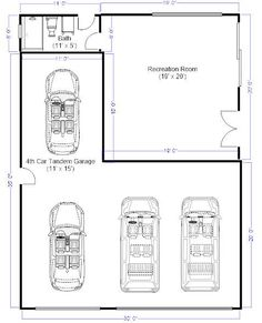 3 car tandem garage dimensions - Google Search