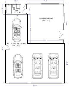 3 car tandem garage dimensions - Google Search