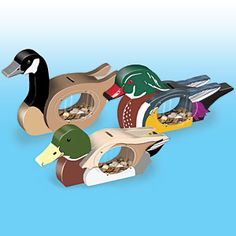 """Waterfowl Banks Pattern:   Canada goose, mallard drake and a male wood duck. Great for any duck lover trying to save their nickels and dimes. Largest is 9""""H x 13""""W. Parts Req'd: Kit (1) P-145 $8.74 per bank.  Pattern #2372  $12.95   ( crafting, crafts, woodcraft, pattern, woodworking ) Pattern by Sherwood Creations"""
