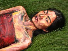 "Alexa Meade ""Found"" - This is actually a real person, the artist has applies acrylic paint to the her body surfaces and on objects and backgrounds to mimic the appearance of brushwork in a painting."