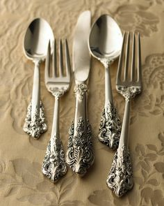 "92-Piece ""20th-Century Baroque"" Silver-Plated Flatware - Horchow"