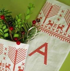 Cross Stitch Block Monogram Folk Art Linen Christmas Stocking