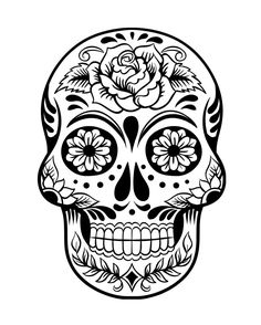 Sugar Skull Coloring Pages Sugar skull design Skull design and